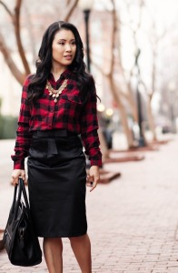plaid shirt pencil dress
