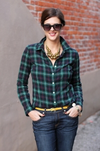 plaid shirt with a belt
