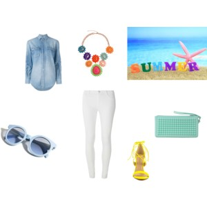 white denim and neon sandals